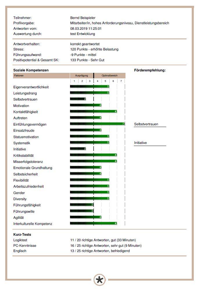 Ein Beispiel für eine Potenzialanalyse des Erfolgsprofils Soziale Kompetenz (ESK)