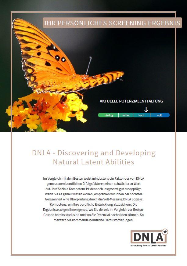 DNLA-Screening: Die erste Seite des Sozialkompetenz-Schnellchecks, direkt mit der ersten Einordnung, wo die Teilnehmerin / der Teilnehmer in Sachen Sozialkompetenz steht.