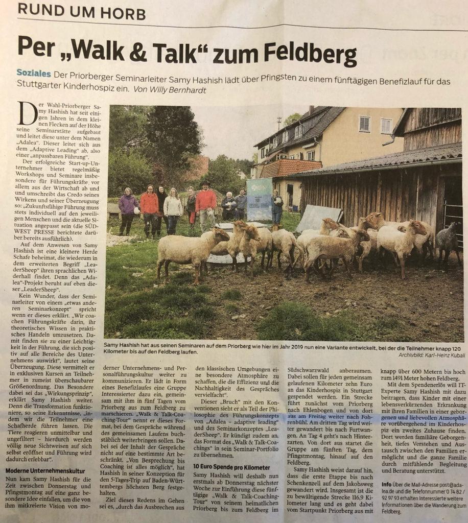 Walk & Talk Spendenaktion von DNLA-Partner Samy Hashish - Zeitungsartikel in der Südwestpresse.