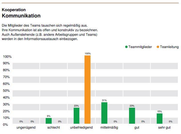 """Musterauswertung DNLA-Teamanalyse in der Online-Version: Hier für den Faktor """"Kommunikation"""" im Oberbereich """"Kooperation""""."""
